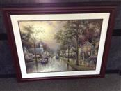 THOMAS KINKADE Painting HOMETOWN MORNING